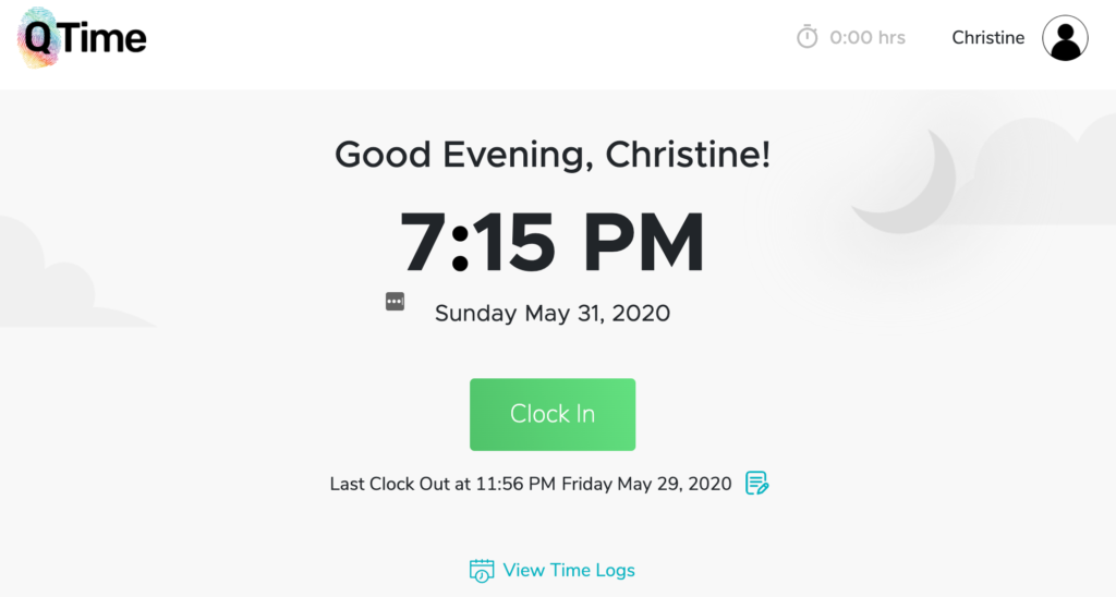 QTime Software Clock In Page