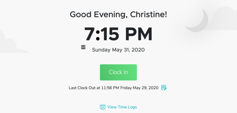 QTime Software Clock In and Out Page without the top bar