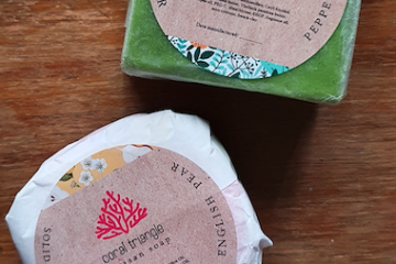 Featured Image - Coral Triangles Artisan Soap English Pear Shampoo Bar and Peppermint Conditioner Bar